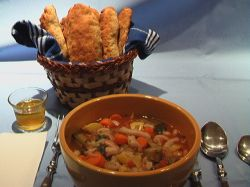 Minestrone and Herbed Breadsticks